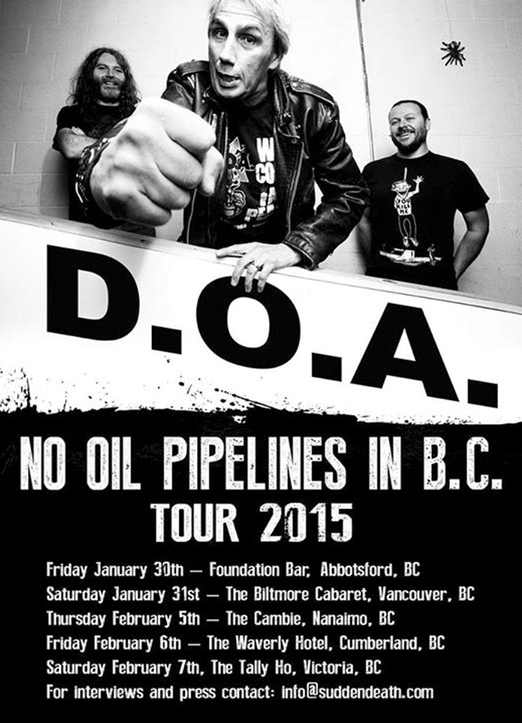 D.O.A. Map Out 'No Oil Pipelines in B.C. Tour'