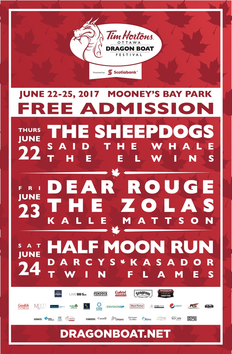 ​Ottawa's Dragon Boat Festival Gets Sheepdogs, Dear Rouge, Half Moon Run for 2017 Edition