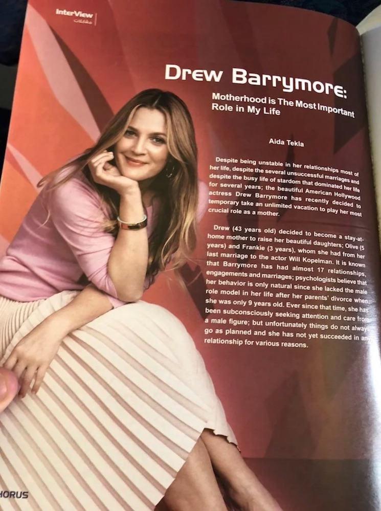 EgyptAir Pulls Inflight Magazine Featuring Surreal Drew Barrymore Interview