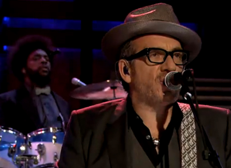 "Elvis Costello and the Roots ""Walk Us Uptown"" (live on 'Fallon')"