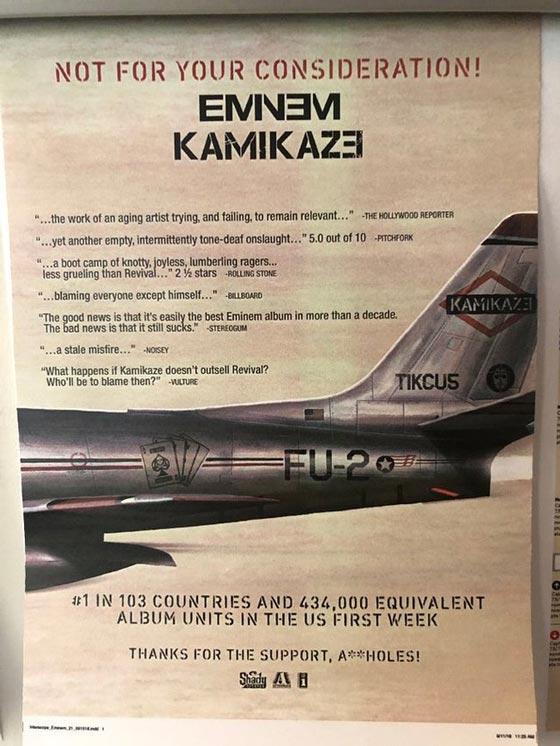 Eminem Mocks 'Kamikaze' Critics with Full-Page Magazine Ad