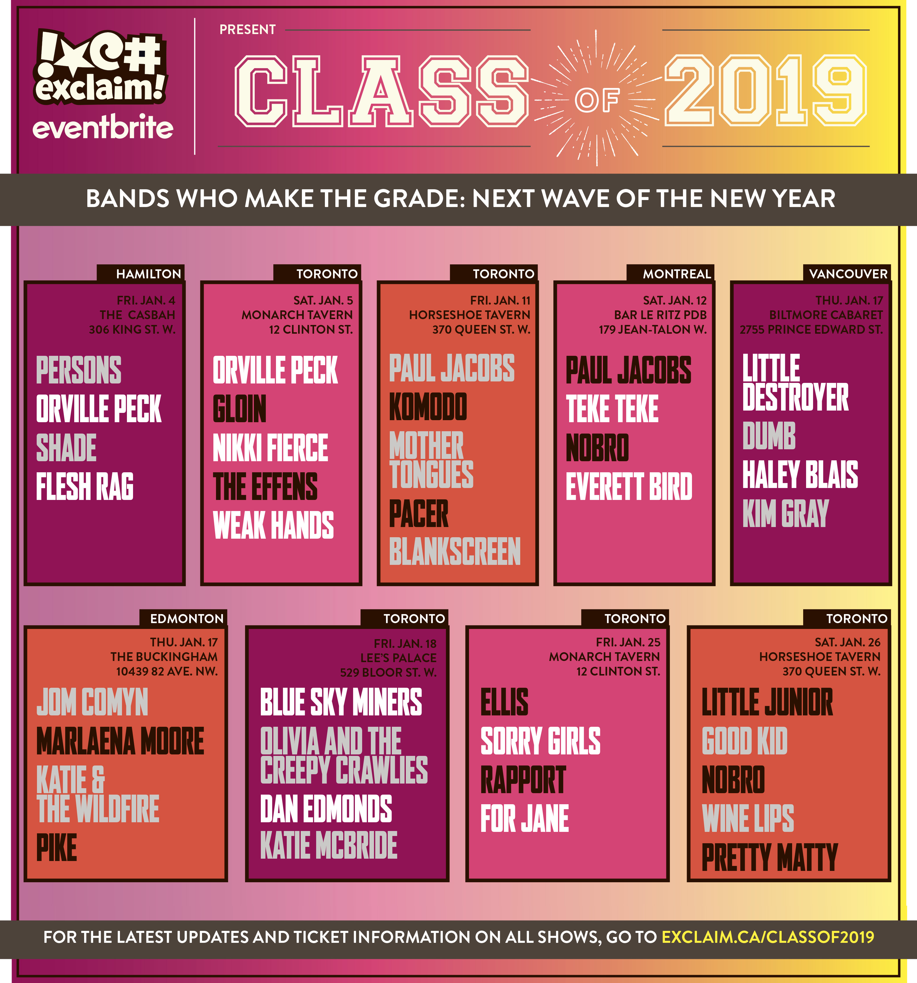 Exclaim! Presents the Class of 2019 Concert Series with Ellis, Paul Jacobs, Little Destroyer, Orville Peck