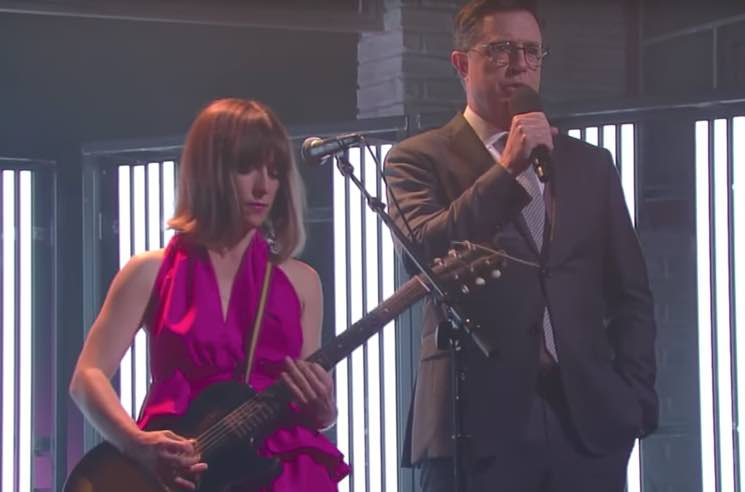 ​Feist Gets Stephen Colbert to Fill in for Jarvis Cocker on 'The Late Show'