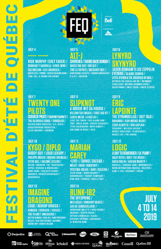 Festival d'Été de Quebec Unveils 2019 Lineup with Blink-182, Slipknot, Mariah Carey