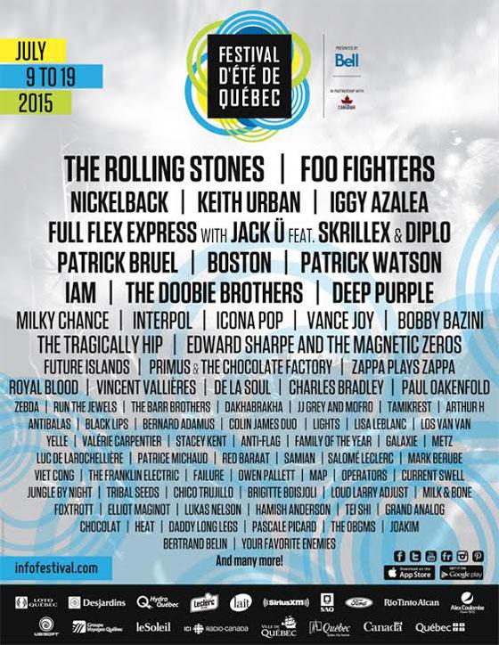 Festival D'Été de Québec Unveils 2015 Lineup