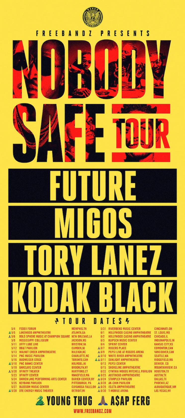 "​Future Gets Migos, Tory Lanez, Kodak Black, A$AP Ferg and Young Thug for ""Nobody Safe Tour"" (And He's Dropping a New Album This Week)"