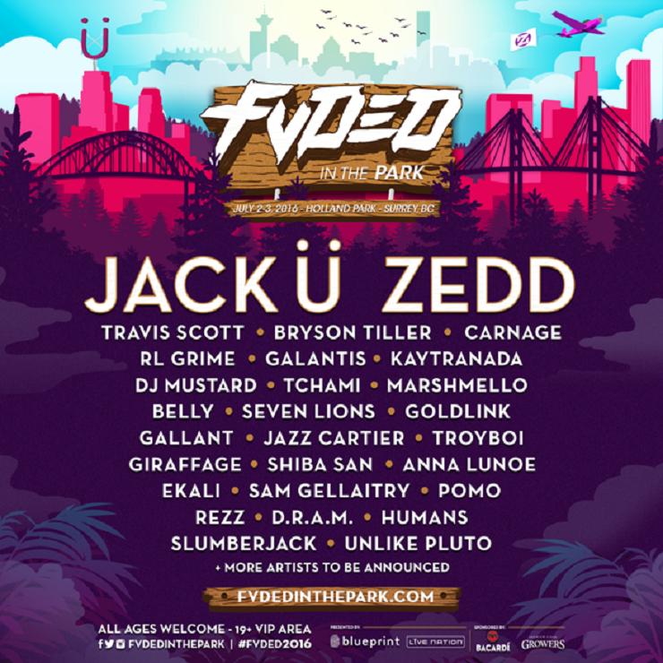 Surrey's FVDED in the Park Festival Returns with Jack Ü, Zedd, Travis Scott