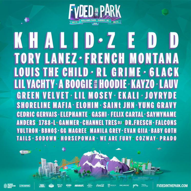 BC's FVDED in the Park Unveils 2019 Lineup with Khalid, Zedd, Tory Lanez, French Montana
