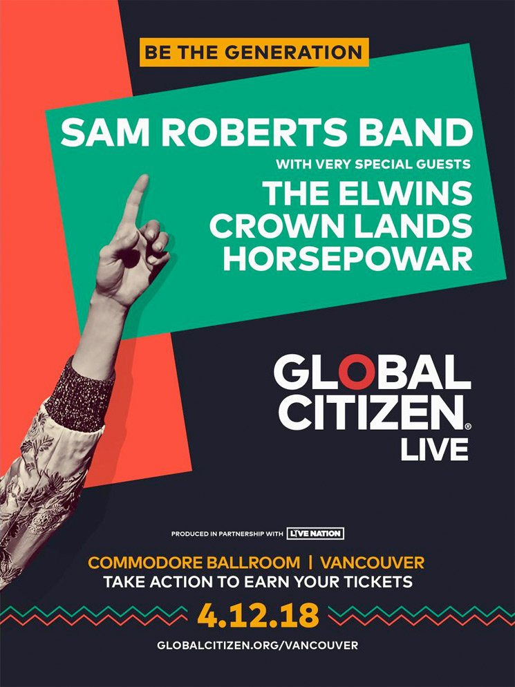 ​Vancouver Gets Sam Roberts Band for Free Global Citizen Concert