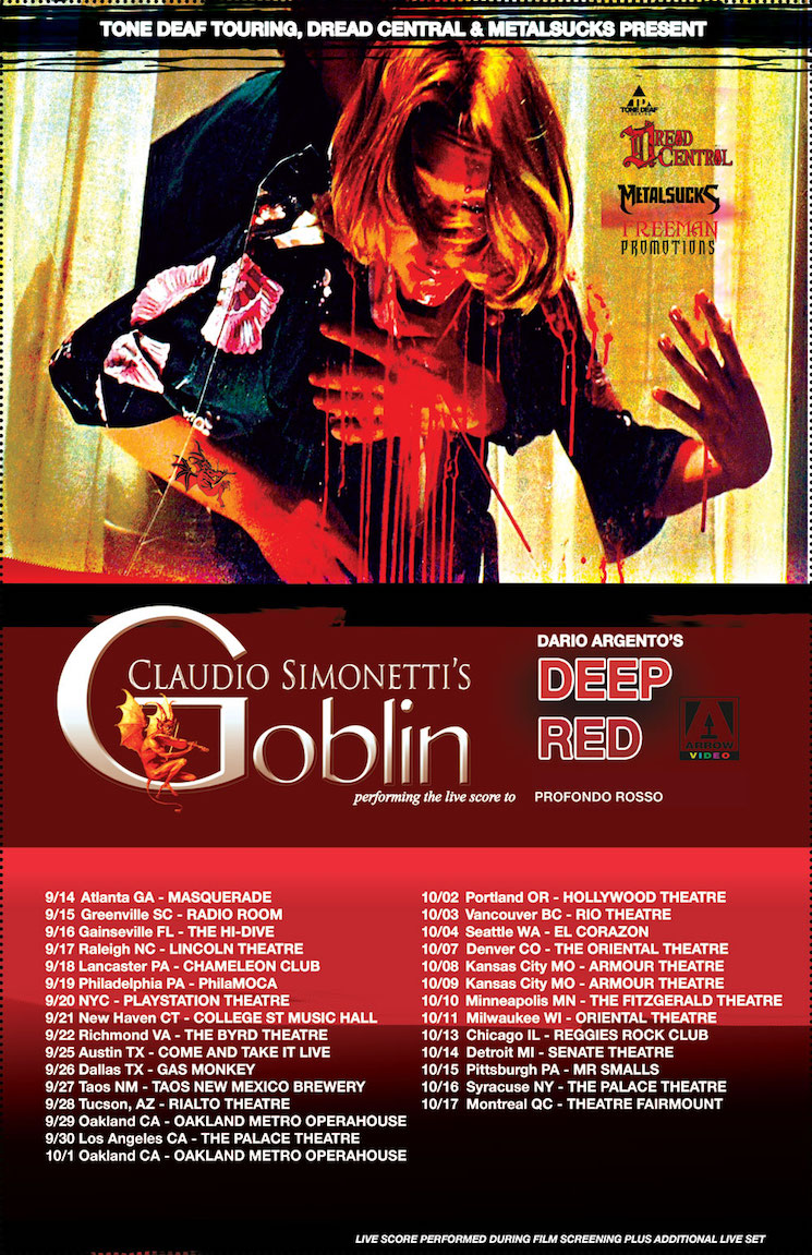 Claudio Simonetti's Goblin to Score Dario Argento's 'Deep Red' in Vancouver and Montreal on Tour