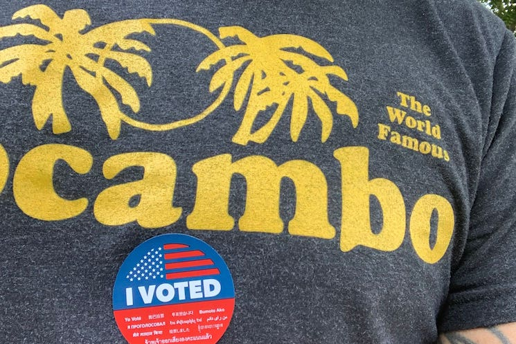 Dave Grohl Voted in an El Mocambo Shirt