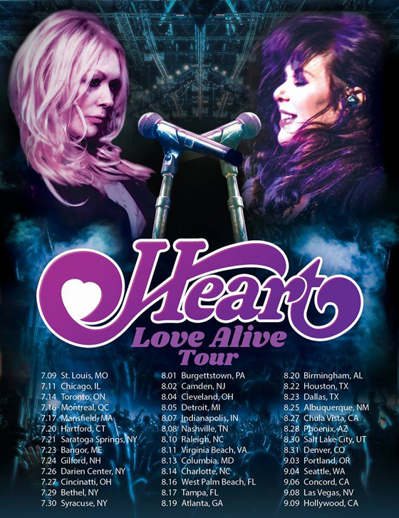 "Heart Plot ""Love Alive Tour"" with Sheryl Crow and Elle King"