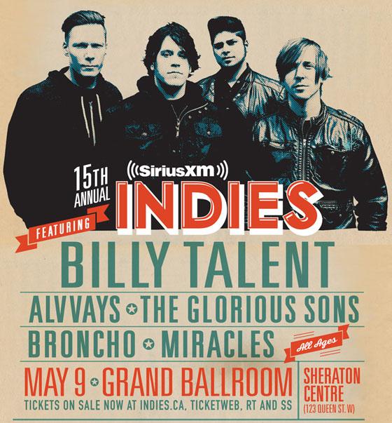 Billy Talent, Alvvays to Headline 2015 SiriusXM Indies