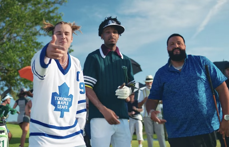Justin Bieber and 21 Savage Have a 'Happy Gilmore'-Inspired Golf Feud in the New DJ Khaled Video