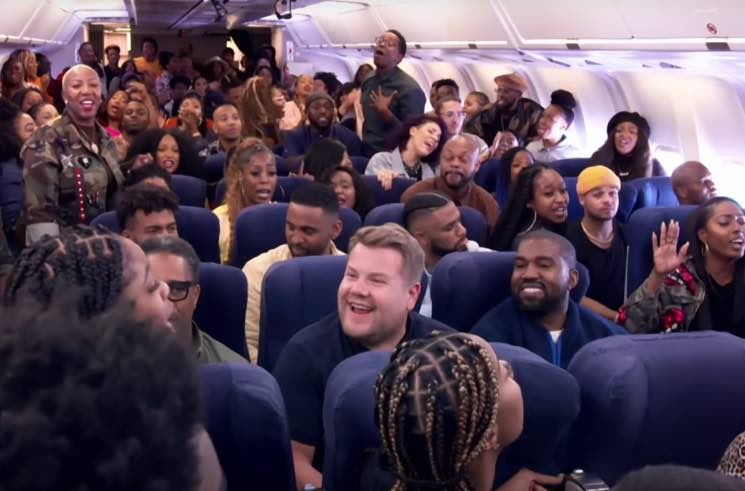 "​Kanye West and James Corden Did ""Carpool Karaoke"" in an Airplane"