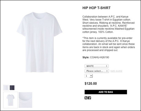 Kanye West Wants You to Pay $120 for Plain T-Shirt