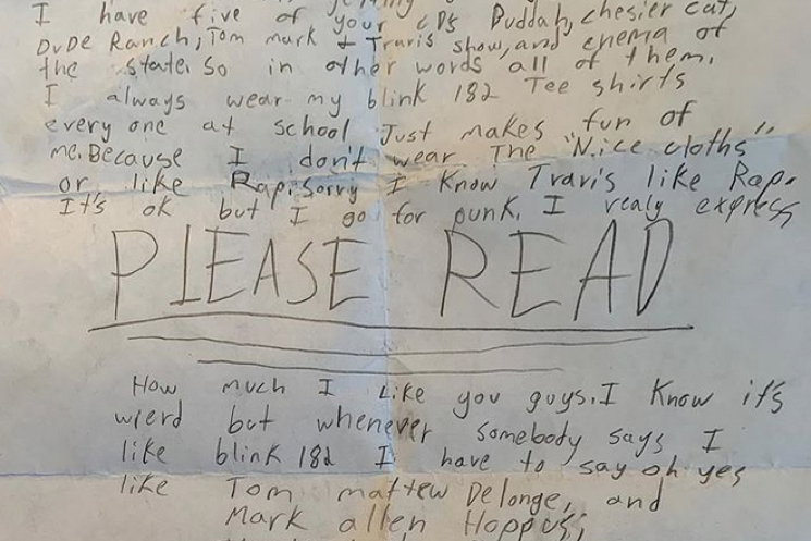 Kevin Morby Shares 7th Grade Fan Letter to Blink-182
