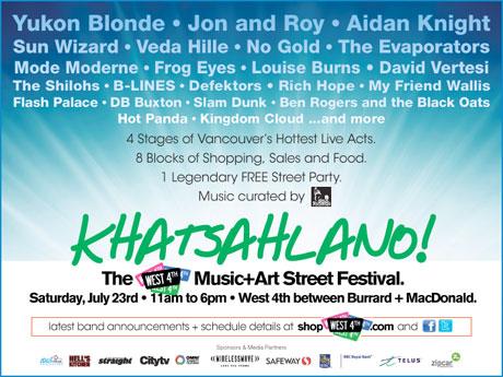 Frog Eyes, Louise Burns, Yukon Blonde to Perform at Vancouver's Free Khatsahlano! Block Party