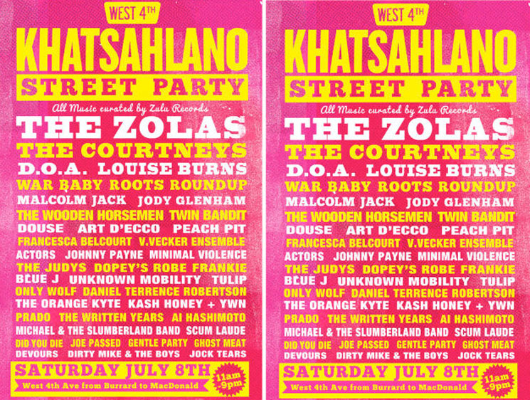 Vancouver's Khatsahlano Street Party Unveils 2017 Lineup with the Zolas, D.O.A., the Courtneys, Louise Burns