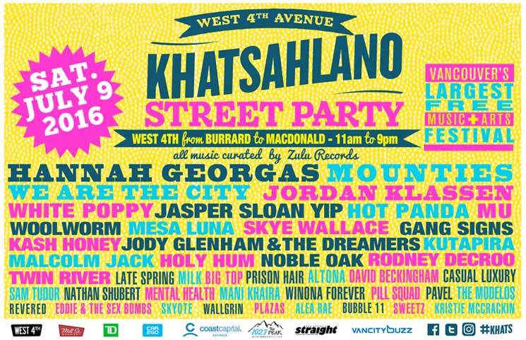 Vancouver's Khatsahlano Street Party Reveals 2016 Lineup with Hannah Georgas, Mounties, We Are the City