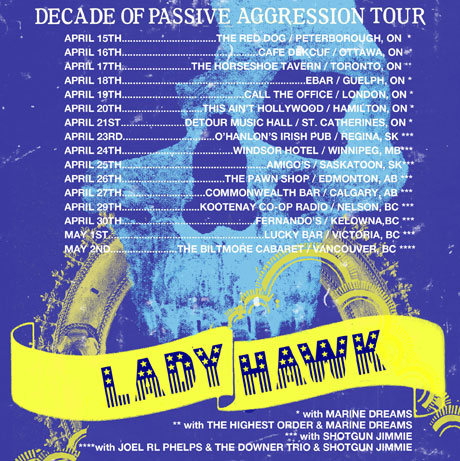 "Ladyhawk Celebrate 10th Anniversary with ""Decade of Passive Aggression"" Canadian Tour, Outline New Album Possibilities"