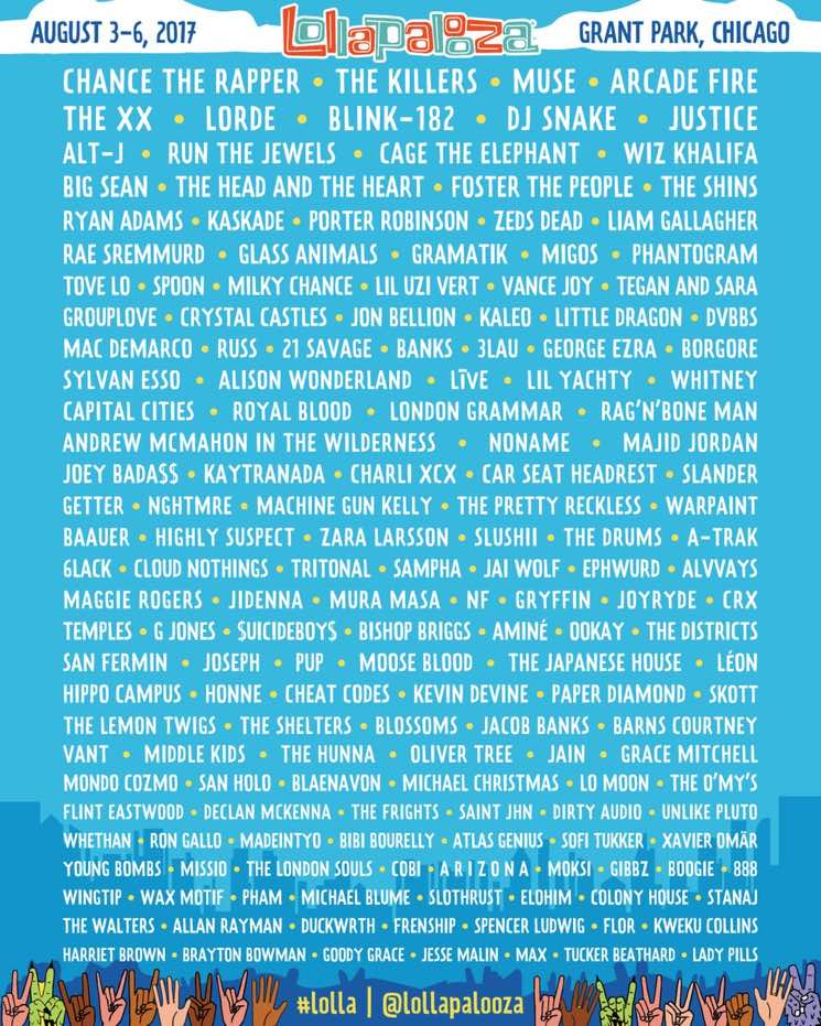 Lollapalooza Rolls Out 2017 Lineup with Chance the Rapper, the Killers, Muse, Arcade Fire