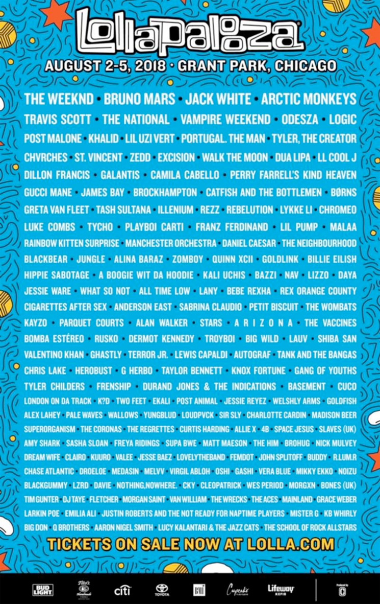 Here's the 2018 Lollapalooza Lineup