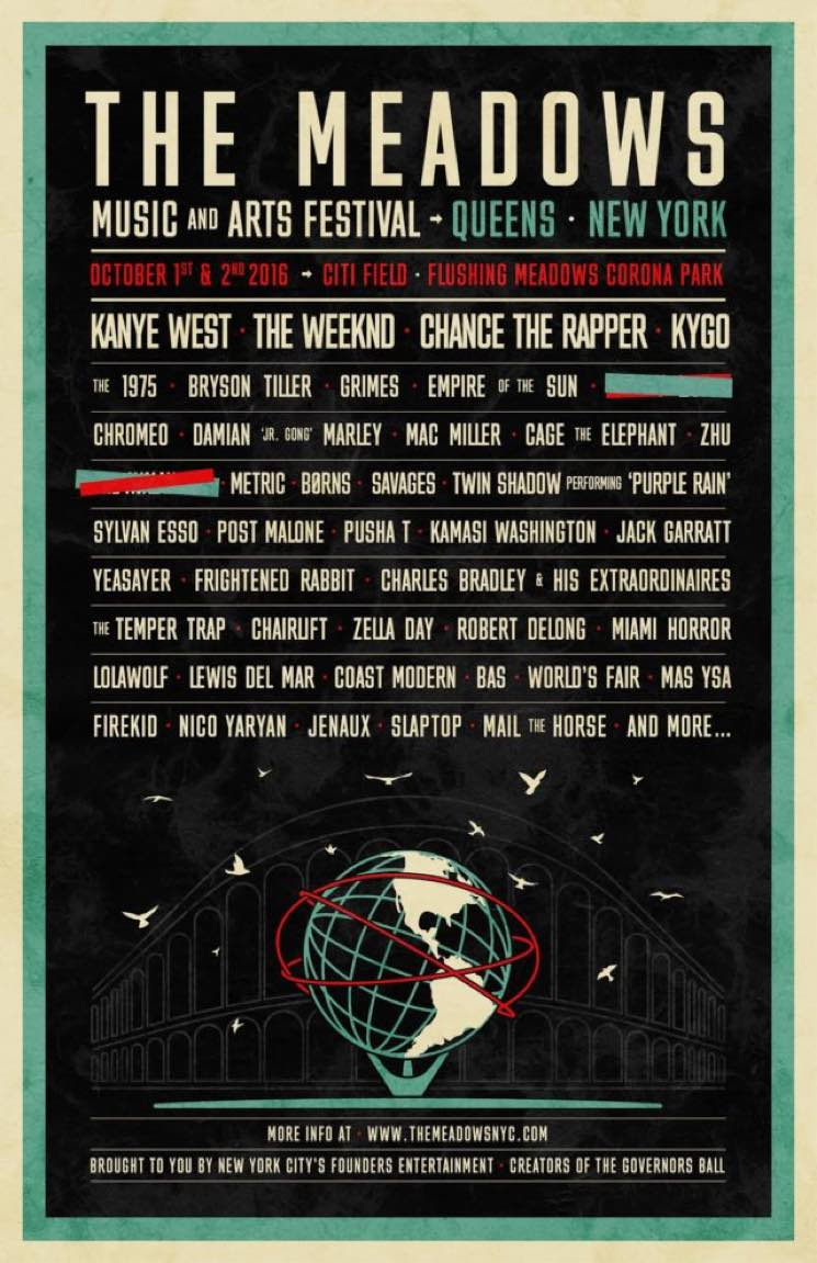 NYC's the Meadows Festival Announces Inaugural Lineup with Kanye West, the Weekend, Chance the Rapper, Grimes