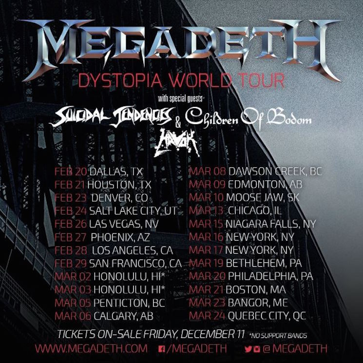 Megadeth Tap Suicidal Tendencies, Children of Bodom and Havok for North American Tour