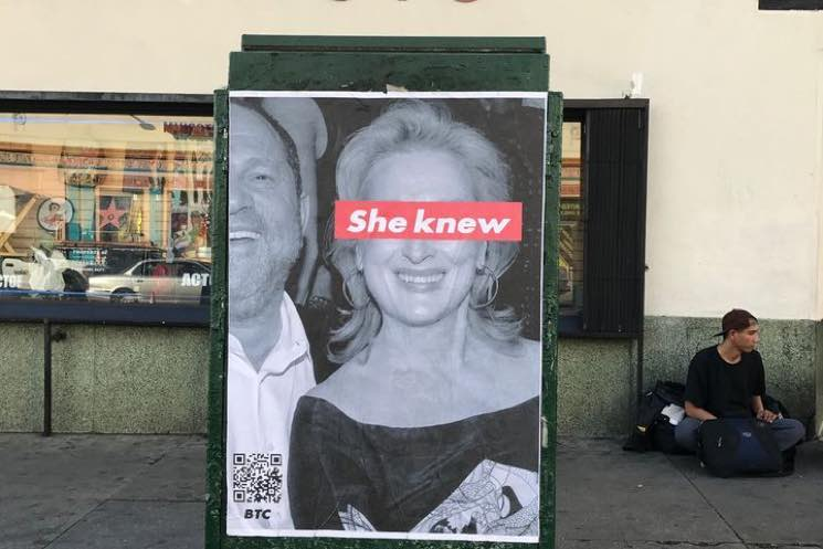 "Meryl Streep Targeted with ""She Knew"" Posters in Los Angeles"