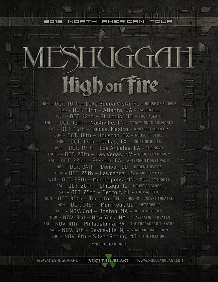 Meshuggah and High on Fire Unite for North American Tour