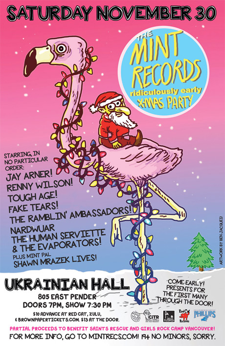 Mint Records Announces Ridiculously Early Xmas Party with Jay Arner, Nardwuar and the Evaporators, Tough Age, Renny Wilson