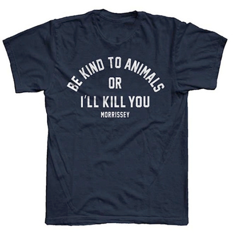 "Morrissey Declares ""Be Kind to Animals or I'll Kill You"" via New T-Shirt"