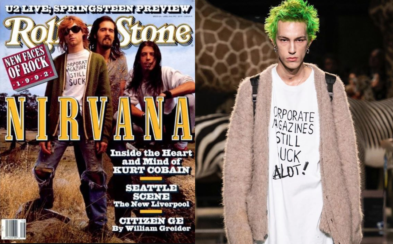 "Kurt Cobain's ""Corporate Magazines Still Suck"" Shirt Has Been Ripped Off by a High-End Fashion Brand"