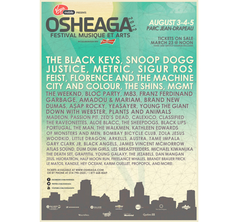 Osheaga Announces 2012 Lineup with Sigur Rós, MGMT, Franz Ferdinand, Bloc Party