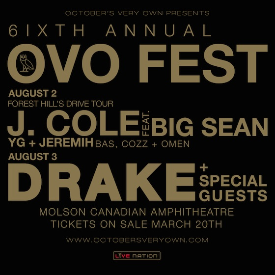 Drake Taps J. Cole, Big Sean, YG, Jeremih for OVO Fest