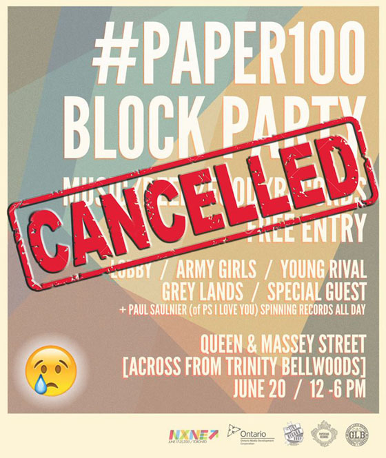 Paper Bag Cancels NXNE Block Party