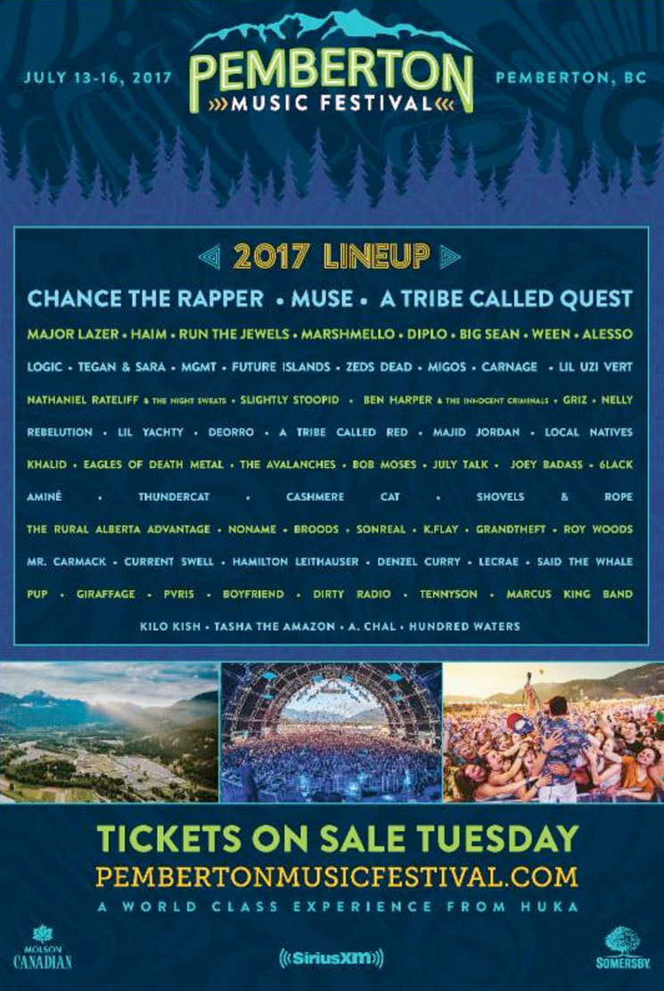 Pemberton Music Festival Reveals 2017 Lineup with Chance the Rapper, Muse, A Tribe Called Quest