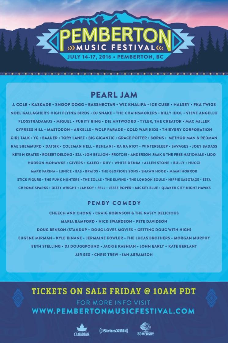 Pemberton Music Festival Unveils 2016 Lineup
