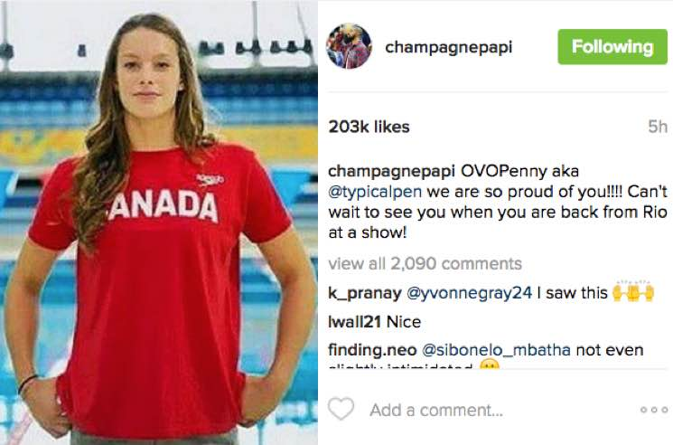 Drake Gives His Official 6 God Blessing to Olympian Penny Oleksiak