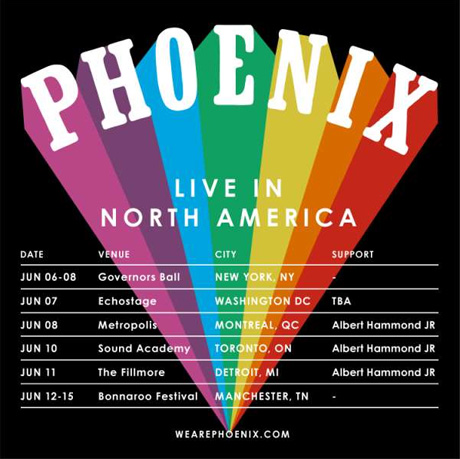 Phoenix Book North American Tour Dates, Play Montreal and Toronto with Albert Hammond Jr.