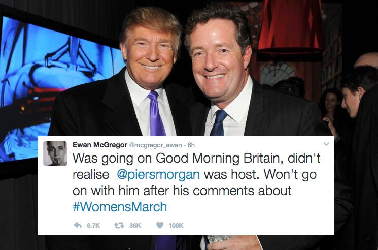 Piers Morgan Goes on Twitter Tirade Against Ewan McGregor After Cancelled 'Good Morning Britain' Appearance