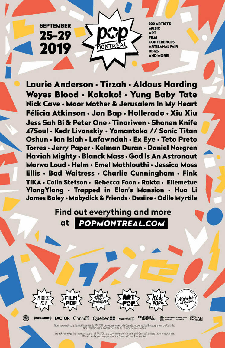 ​POP Montreal Reveals 2019 Lineup with Laurie Anderson, Tirzah, Aldous Harding