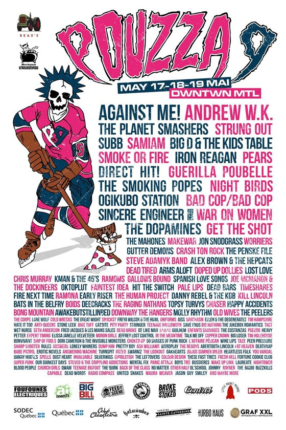 Montreal's Pouzza Fest Reveals 2019 Lineup with Against Me!, Andrew W.K., the Planet Smashers