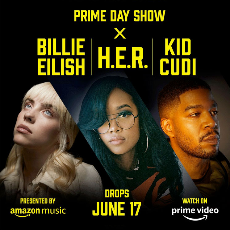 Billie Eilish, H.E.R. and Kid Cudi Are Teaming Up for Amazon's 'Prime Day Show'