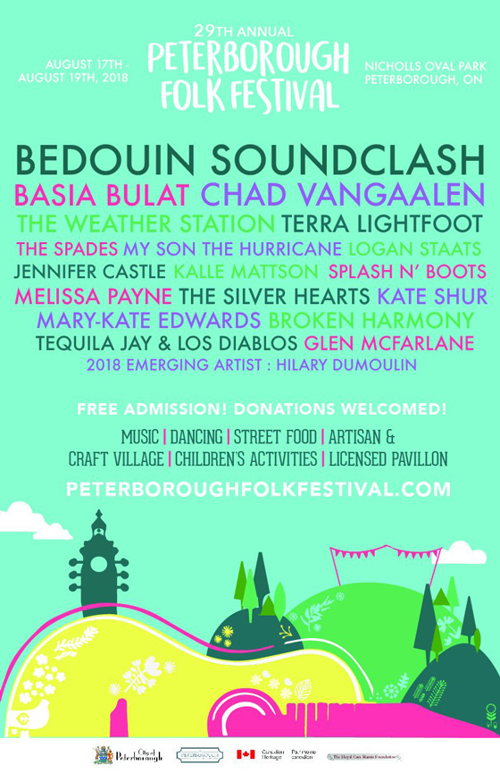 Peterborough Folk Fest Reveals 2018 Lineup with Bedouin Soundclash, Basia Bulat, Chad VanGaalen