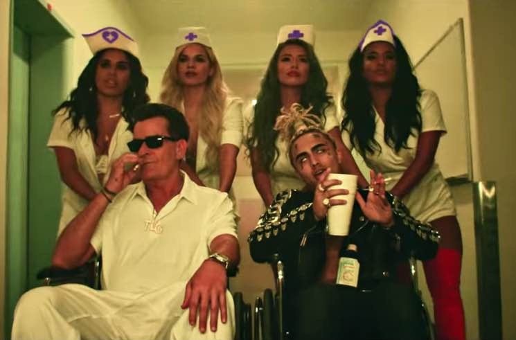 "Lil Pump Enlists Charlie Sheen for ""Drug Addicts"" Video"