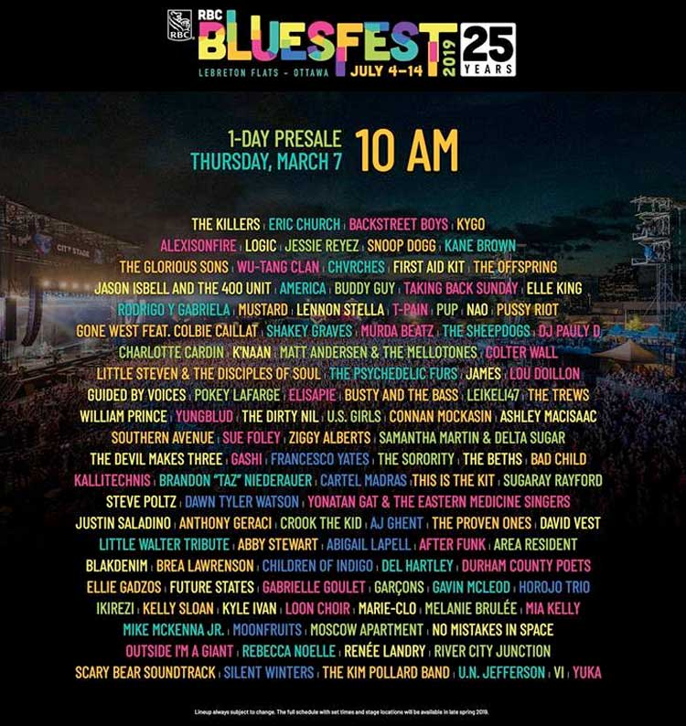 Ottawa's RBC Bluesfest Unveils 2019 Lineup