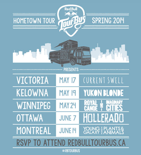 Red Bull Tour Bus Announces 2014 Tour Schedule with Hollerado, Young Galaxy, Yukon Blonde