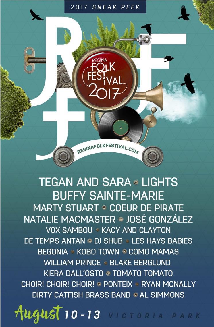 Regina Folk Festival Rolls Out 2017 Lineup with Tegan and Sara, Lights, Buffy Sainte-Marie